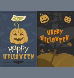 set of happy halloween greeting card vector image vector image