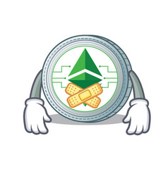 Silent ethereum classic character cartoon vector