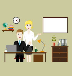two business people in an office vector image vector image