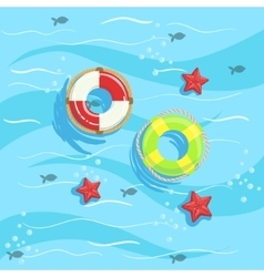 Two ring buoys with blue sea water on background vector