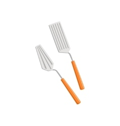 Two spatulas set of pizza preparation kitchen vector