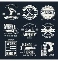 Work tools monochrome emblems vector