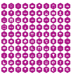 100 view icons hexagon violet vector image