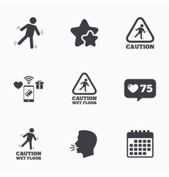 Caution wet floor icons human falling signs vector