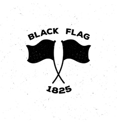 The black isolated logo or poster of a flag in vector
