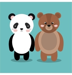 Cartoon animal panda bear plush stuffed design vector