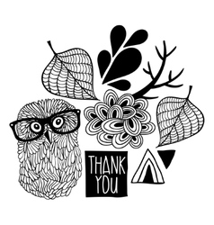 Black and white thankful print vector image
