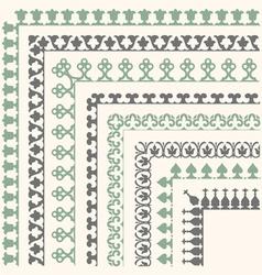 Decorative seamless ornamental border with corner vector