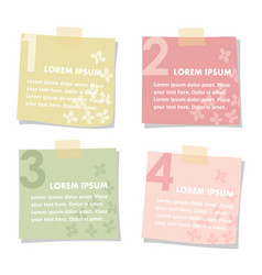 Set of sticky notes papers with flowers spring vector