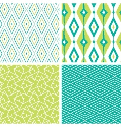 Set of green ikat diamond seamless patterns vector