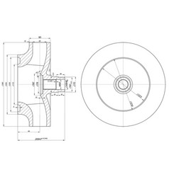 Sketch of wheel with section and hatching vector