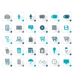 stylized business and office icons vector image