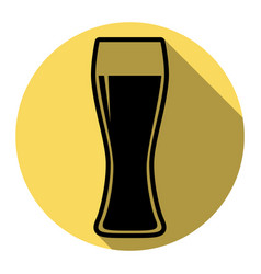 Beer glass sign  flat black icon with flat vector