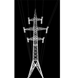 Power transmission tower with wires vector
