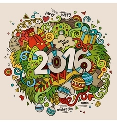 2016 New year hand lettering and doodles elements vector image vector image