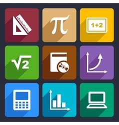 Mathematics flat icons set 52 vector