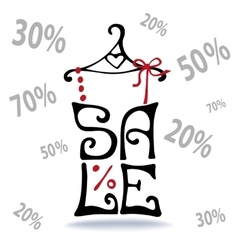 Sale letteringshirt on hangerfalling numbers vector