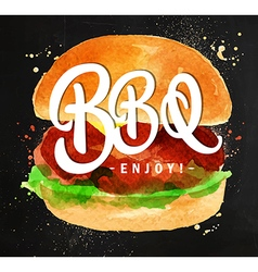 Burger BBQ chalk vector image