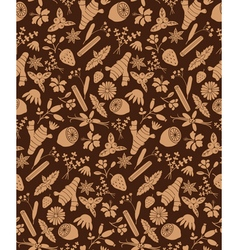 Brown herbal ingredients pattern vector