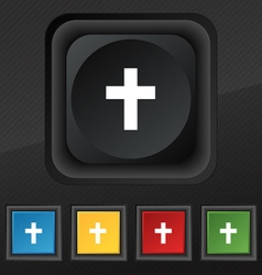 Religious cross christian icon symbol set of five vector