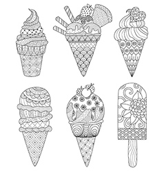 Ice cream coloring book vector