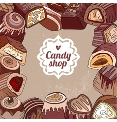 Square template with different chocolate candies vector