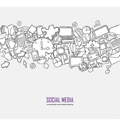 Social network background with media icons hand vector