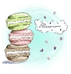 Sweet delicious doodle macarons card vector