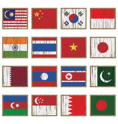 Distressed asian flags vector