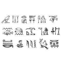 Ancient Egyptian hieroglyphs doodle set vector image vector image