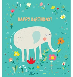 Birthday card for kids with elephant and flowers - vector image