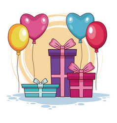 Birthday gifts and balloons vector