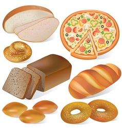 Bread and bakery set vector