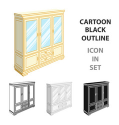 cabinet with glass doors and drawers furniture vector image vector image