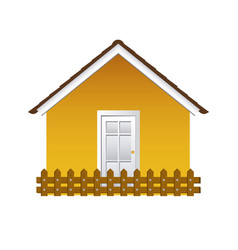 Comfortable yellow facade house with wooden fence vector