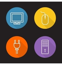 Computer electronics flat linear icons set vector image