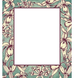 Decorative hand drawn floral frame with orchids vector image