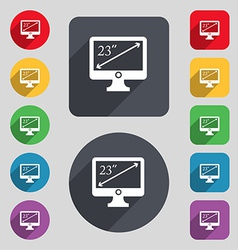 Diagonal of the monitor 23 inches icon sign a set vector