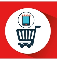 Digital e-commerce cart shopping icon design vector