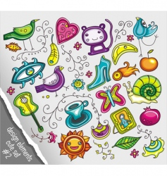 doodle design elements vector image vector image