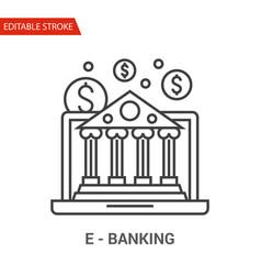 e-banking icon thin line vector image vector image