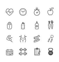 Fitness icons and Health icons vector image vector image