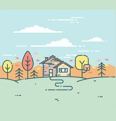 Flat linear a suburban house in the autumn vector