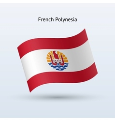 French Polynesia flag waving form vector image vector image