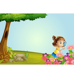 Girl in nature vector image vector image