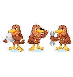 Hawk mascot with phone vector