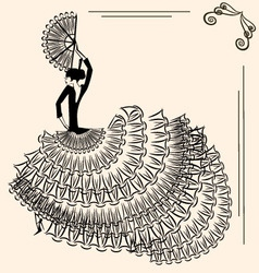 image of flamenco dancer with fan vector image