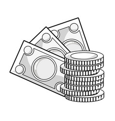 Line bills and coins cash moey currency vector