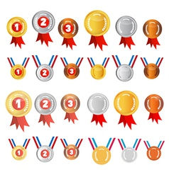 Medals set gold silver bronze first second third vector