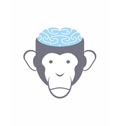 Monkey brain blue animal head logo for res vector
